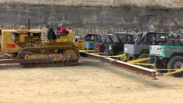 Caterpillar D8 VS 20 Toyota's!!